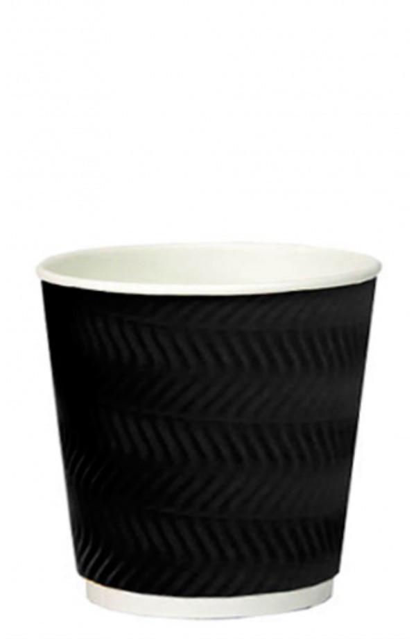 Стакан бумажный гофрированный S-волна черный 185мл Ǿ=72мм, h=72мм