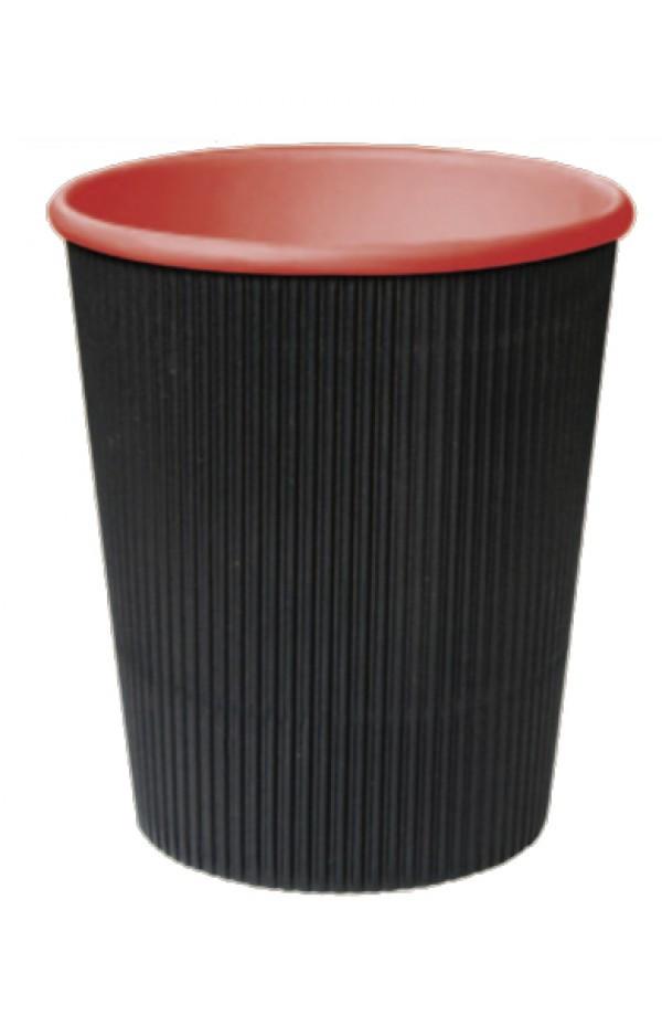 """Стакан бумажный гофрированный черный с красной внутренней ламинацией """"лабутены"""" 110мл Ǿ=61мм, h=55мм"""