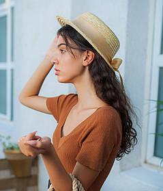 Шляпа канотье с бежевым бантиком