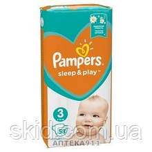 Підгузники Pampers Sleep and Play Midi №3 (4-9кг) 58 шт.