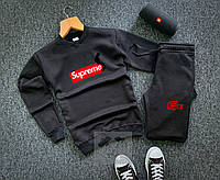 Зимний мужской черный спортивный костюм, чоловічий костюм зима Supreme, Реплика