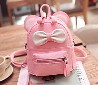 Рюкзак женский мини сумка Miki 2 с ушками Розовый Уценка Тип2