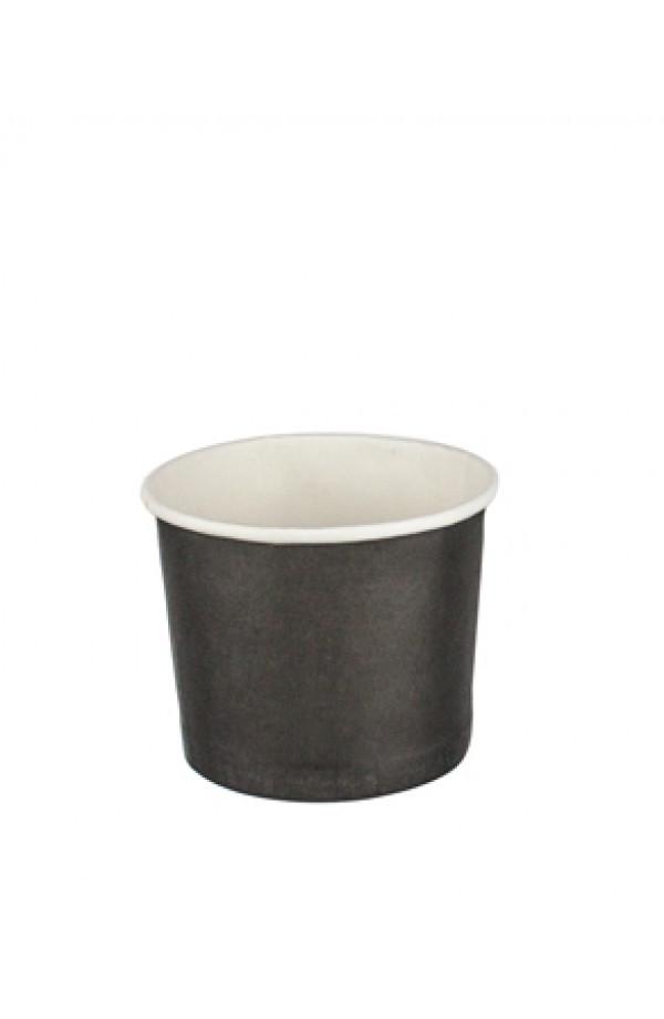 Контейнер бумажный для мороженого 1РЕ черный 280 мл. Ǿ=87мм Ǿ=70мм Без крышки (Крышка 011592)