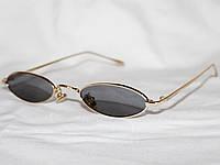 Очки в стиле Cartier S31036 узкие золото черный 19967