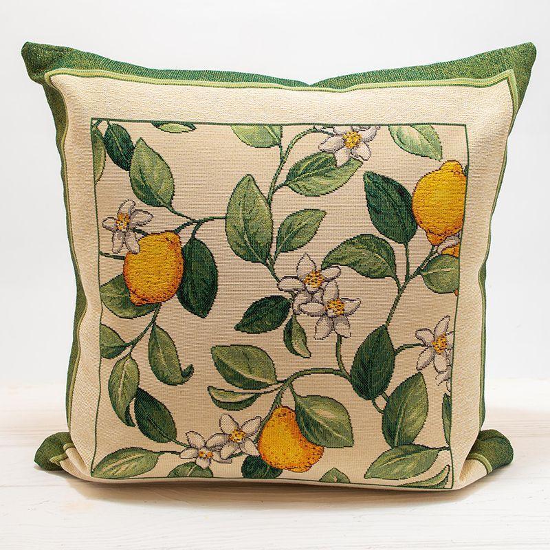 Наволочка декоративная гобеленовая Португалия Villa Grazia Premium Цветение лимона 45x45 см