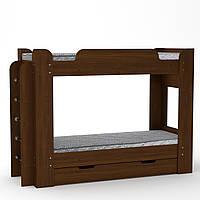 Кровать с матрасами двухъярусная Твикс орех экко Компанит
