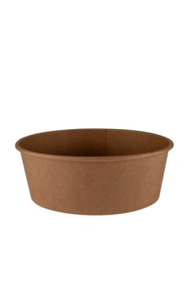 Контейнер бумажный круглый для салата и вторых блюд крафт/крафт 750мл 1РЕ Ǿ=145мм, h=67мм Без крышки