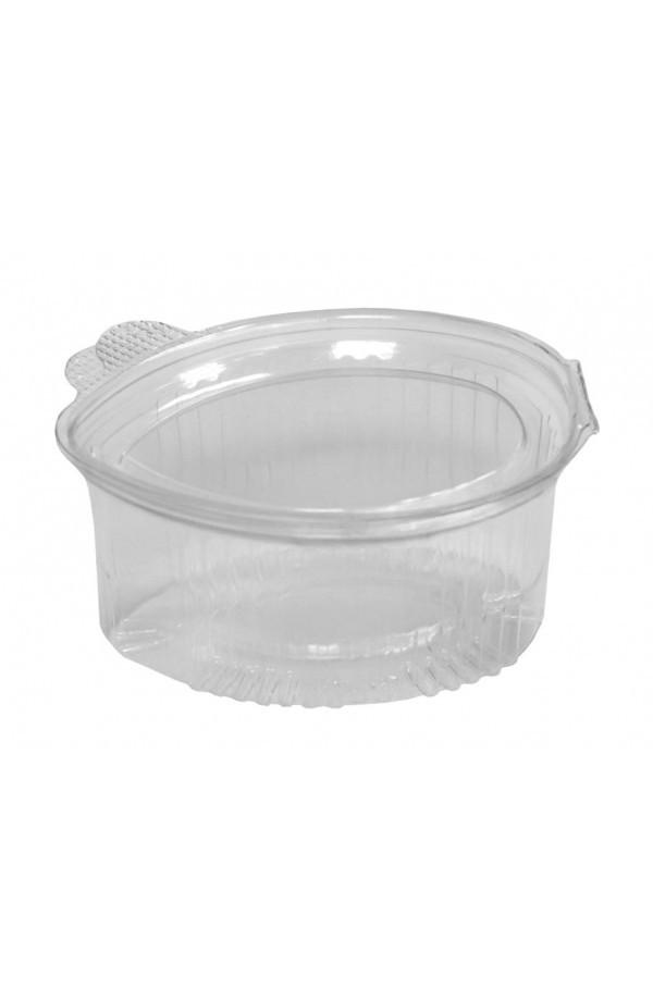 Соусник одноразовый 90 мл. с неразъемной крышкой овальный прозрачный, пластиковый РЕТ 100 шт.