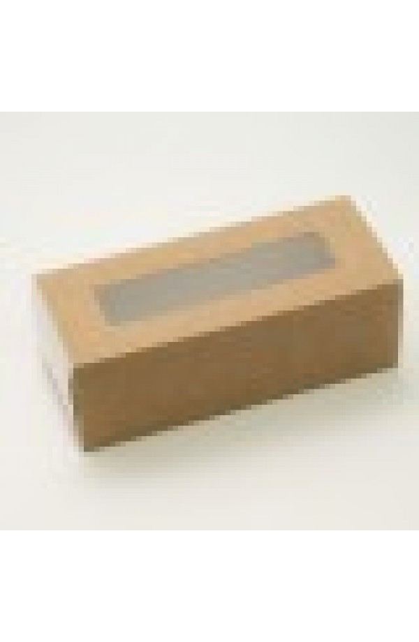 Коробка бумажная с прозрачным окошком для макарун, 1РЕ 141*59*49мм крафт
