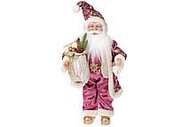 Новогодняя игрушка Санта 46см, цвет - розовый