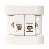 Розетка EL-BI FINO компьютерная+телефон (RJ 45 CAT+RJ11) белая