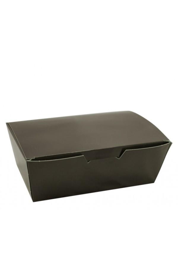 Коробка бумажная для снеков, нагетсов, суши, роллов большая 165*105*58 мм черная 25 шт