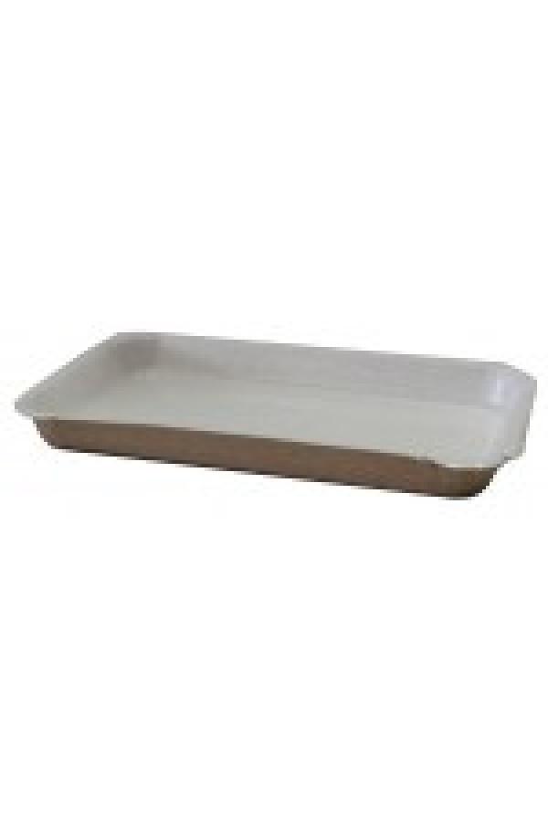 Тарелка одноразовая прямоугольная с ламинацией 20х11х2 см крафт с белым (для фасовки) 1РЕ