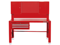 Верстак слесарный 3 полки выдвижных, 2 наверсных шкафа, перфорированная панель