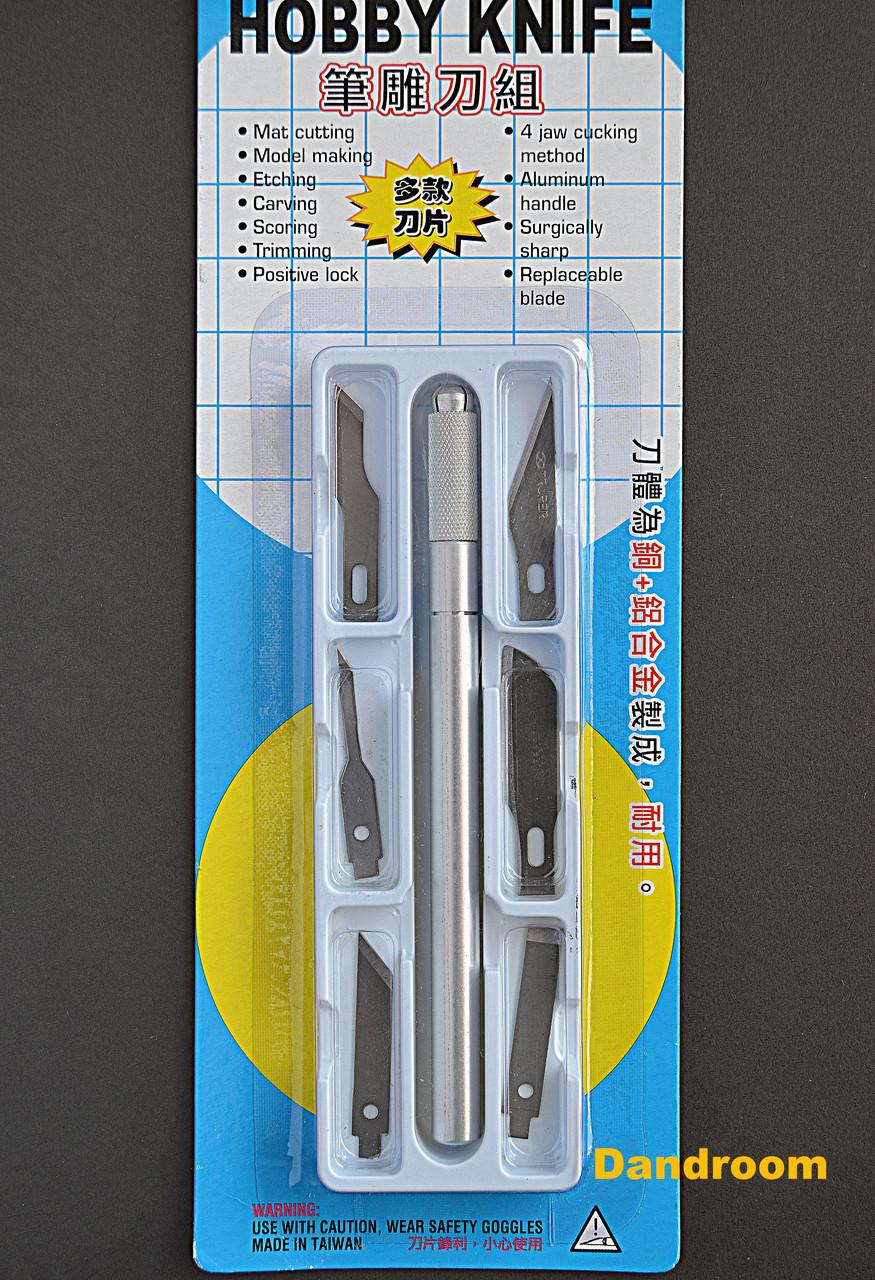 Нож макетный С-6011, металлическая ручка, 6 сменных лезвий разной формы, DAFA