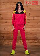 Костюм спортивный женский штаны и куртка Адидас - Малиновый