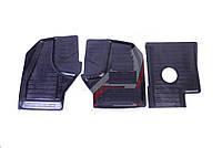 Коврик пола кабины Газель NEXT резина (комплект 3 части) средняя часть 1 отверстие (пр-во Россия)