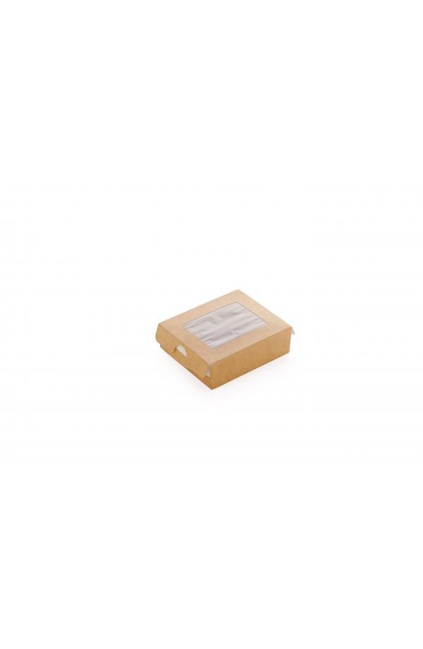 Коробка-пенал бумажная 240мл 100*80*30мм 1РЕ крафт (013885)
