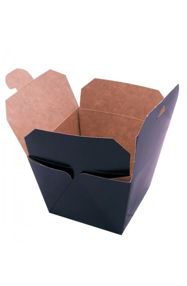 Коробка бумажная под ВОК 700 мл., 8,5х8,5х8,2см (внутри крафт) черная (013895)