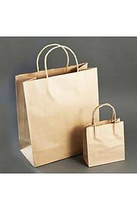 Пакет бумажный с кручеными ручками 33х16х26 см. крафтовый