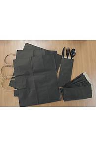 Крафт пакет бумажный с кручеными ручками 33х16х26 см. черный