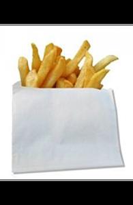 Бумажный пакетик для картошки фри 100х100х55мм белый жиростойкий (014007)