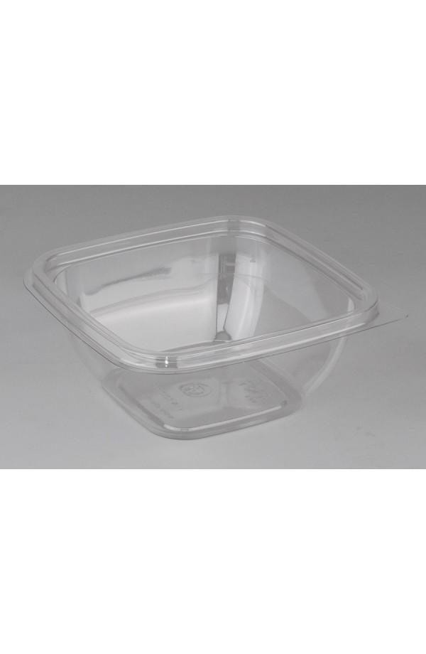 Контейнер квадратный для салата 375мл 126*126*51,5мм ПЭТ прозрачный (015018)