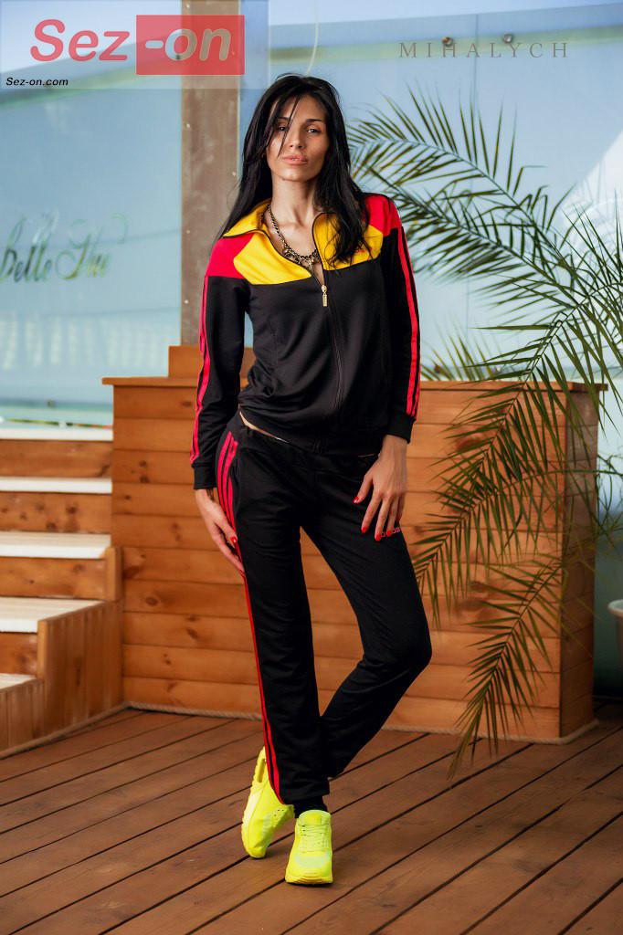 Костюм спортивний жіночий штани і куртка Адідас ― Чорний