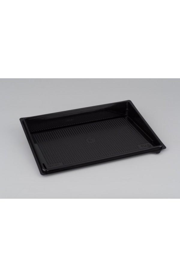 Контейнер черный для суши большой (витрина, дно, без делений) РЕТ 235*162*32мм
