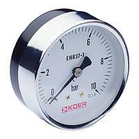 Манометр аксиальный KOER (KM.611A) (0-10 bar), D=63мм, 1/4''