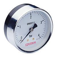 Манометр аксиальный KOER (KM.611A) (0-4 bar), D=63мм, 1/4''