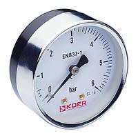 Манометр аксиальный KOER (KM.611A) (0-6 bar), D=63мм, 1/4''