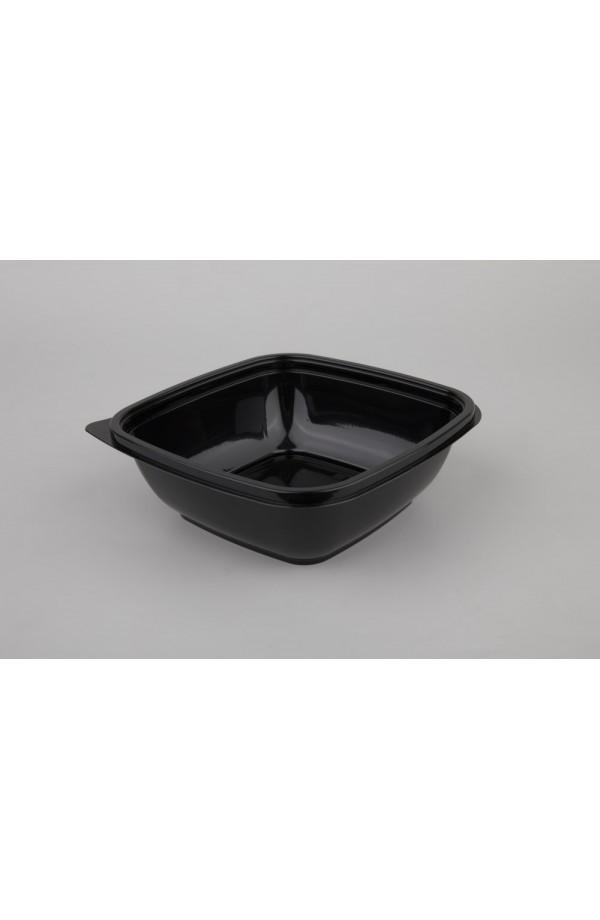 Контейнер квадратный для салата 625мл 160*160*50мм ПЭТ черный (015061)