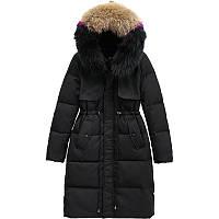 Зимний пуховик с натуральным мехом, пуховое пальто, черный c цветным воротникомм, фото 1
