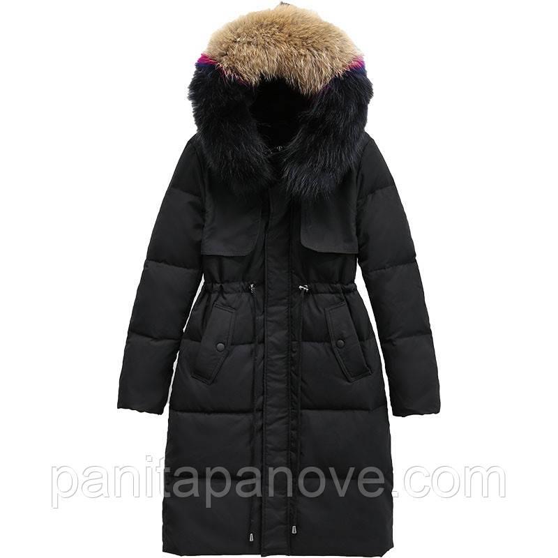 Зимний пуховик с натуральным мехом, пуховое пальто, черный c цветным воротникомм