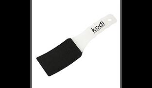 Пилка для педикюра изогнутая (пластиковая белая ручка) 100/180