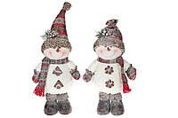 Мягкая новогодняя игрушка Снеговик, 2 вида, 46см, цвет - белый