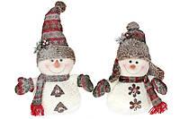 Мягкая новогодняя игрушка Снеговик, 2 вида, 43см, цвет - белый