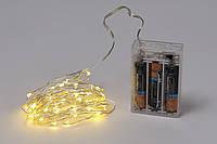 Гирлянда 60 мини-LED: 1 линия 6 метров, 60 диодов/ нить, цвет - тёплый белый, постоянное свечение, адаптер на 3AA батарейки