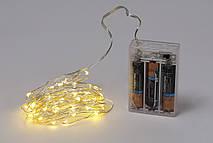 Гирлянда 60 мини-LED: 1 линия 6 метров, 60 диодов/ нить, цвет - тёплый белый, постоянное свечение, адаптер на