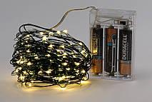 Гирлянда 100 мини-LED: 1 линия 10 метров, 100 диодов/ нить, цвет - тёплый белый, постоянное свечение, адаптер