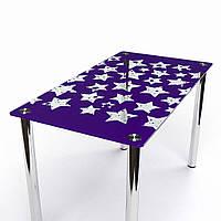 """Стол обеденный стеклянный """"Звезды"""" стол для гостинной или кухни"""