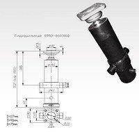 Гідроциліндр підйому платформи причепа КАМАЗ (СЗАП-8543) 3-х штоковый