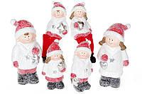 Декоративная фигурка Детки, 2 вида - мальчик и девочка, 15.5см, цвет - белый с красным
