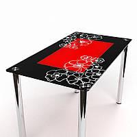 """Кухонный стол стеклянный """"Маки С-1"""" стол для гостинной или кухни"""
