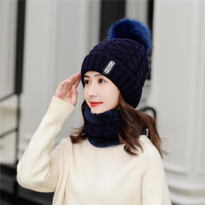 Комплект зимний шапочка с помпоном  и хомут,  вязка и плюш, синий