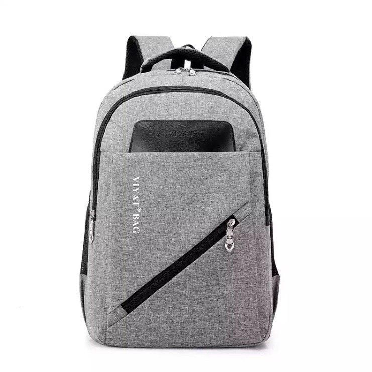 Вместительный рюкзак на два отделения серый