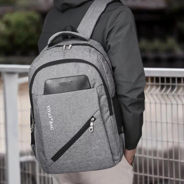 Вместительный рюкзак на два отделения серый, фото 2