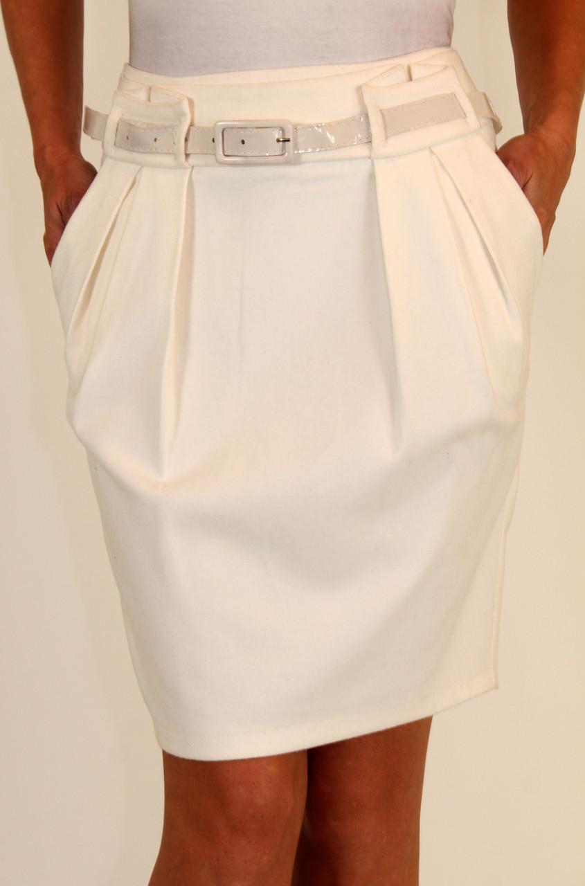 Теплая юбка карандаш ( белый, синий ) 42-48 р
