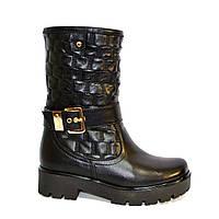 Женские демисезонные кожаные ботинки на утолщенной подошве, фото 1
